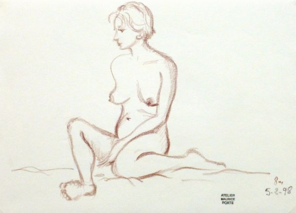 Charcoal Drawing - Sitting Female Nude-main-10160M