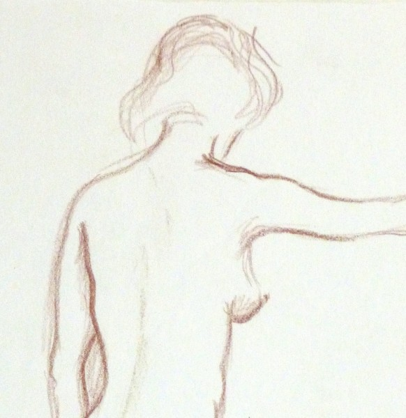 Charcoal Drawing - Nude Female Standing-detail 2-10161M