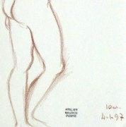 Charcoal Drawing - Nude Female Standing-detail-10161M