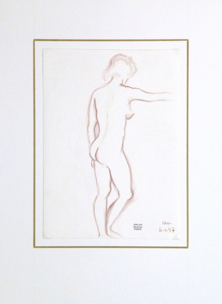 Charcoal Drawing - Nude Female Standing-matted-10161M