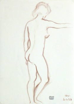 Charcoal Drawing - Nude Female Standing-main-10161M