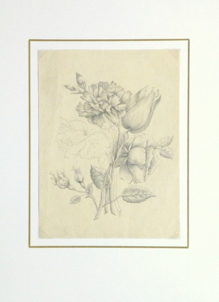 Pencil Drawing - Delicate Bouquet-matted-10162M