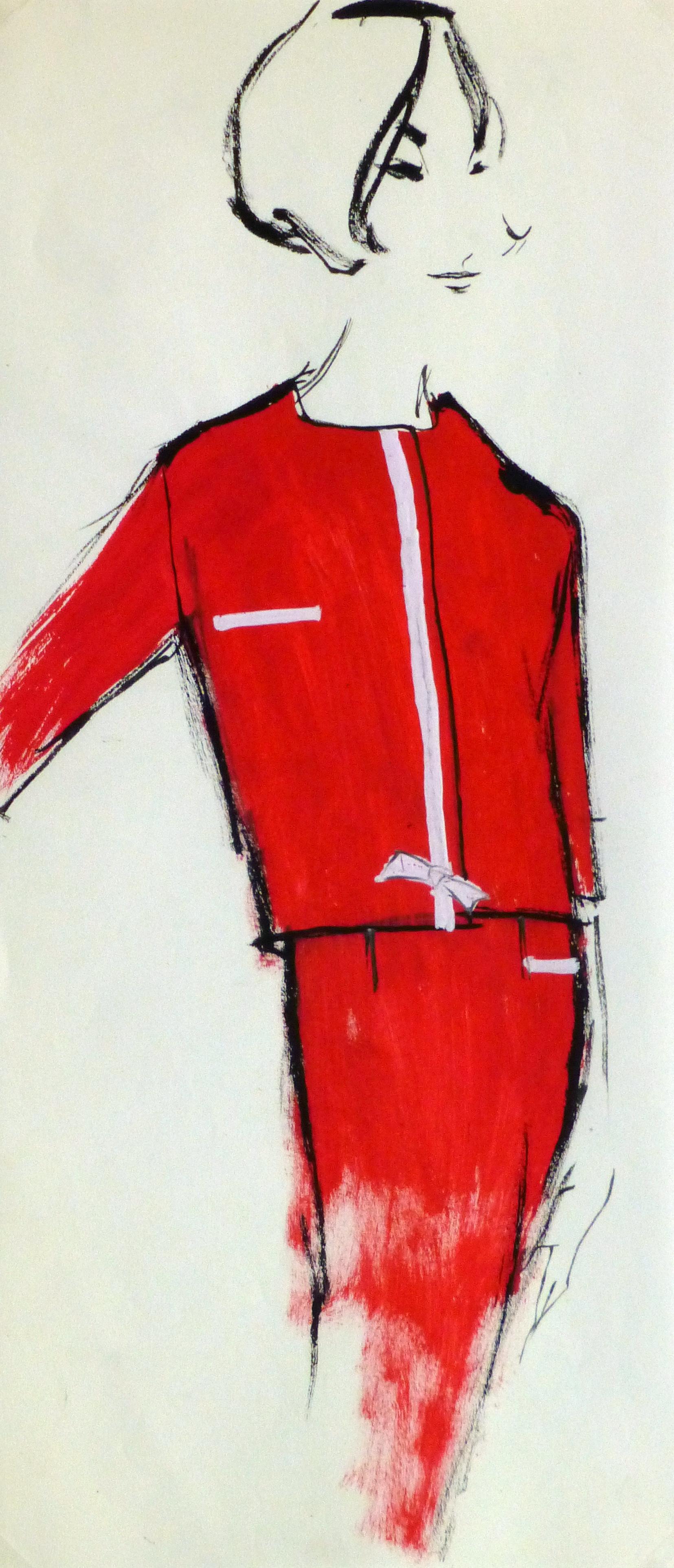 Gouache Fashion Sketch- Balmain Red Dress Suit-main-10191M