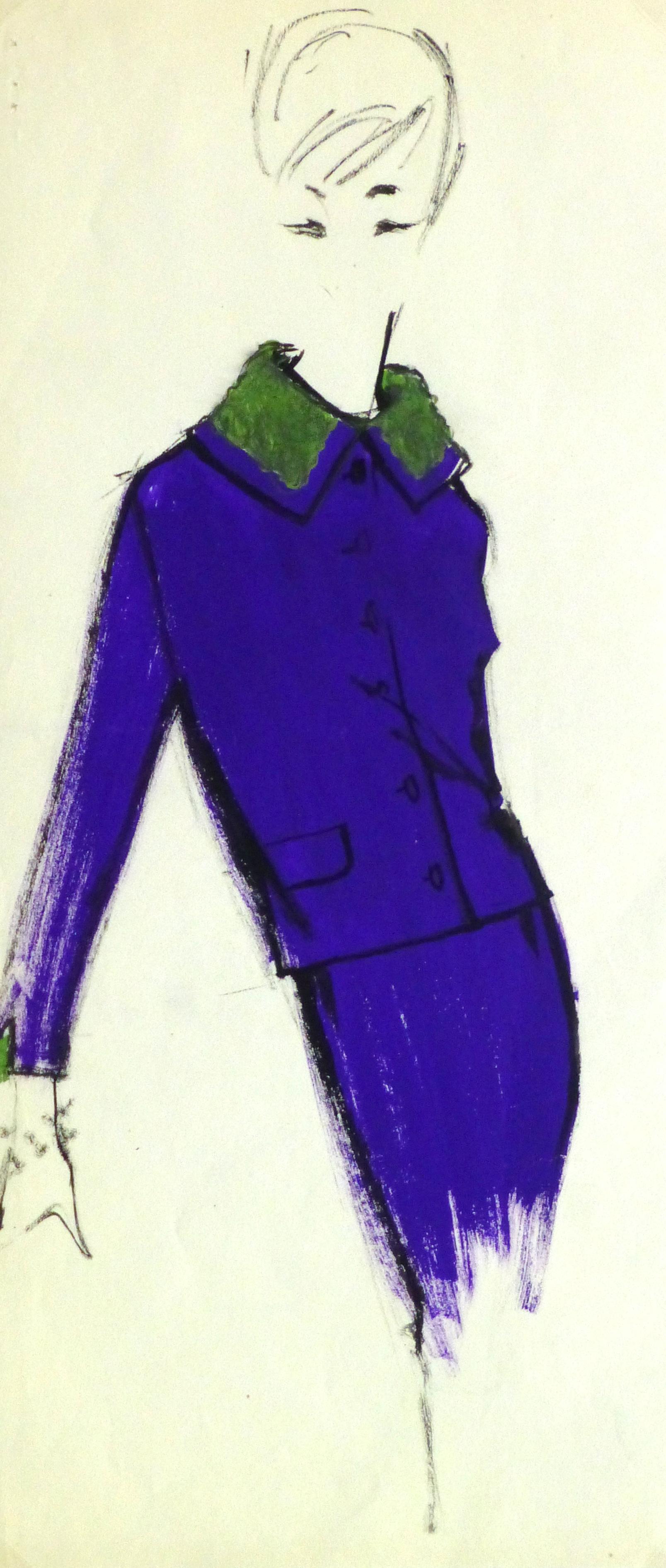 Gouache Fashion Sketch- Balmain Purple Dress Suit-main-10192M