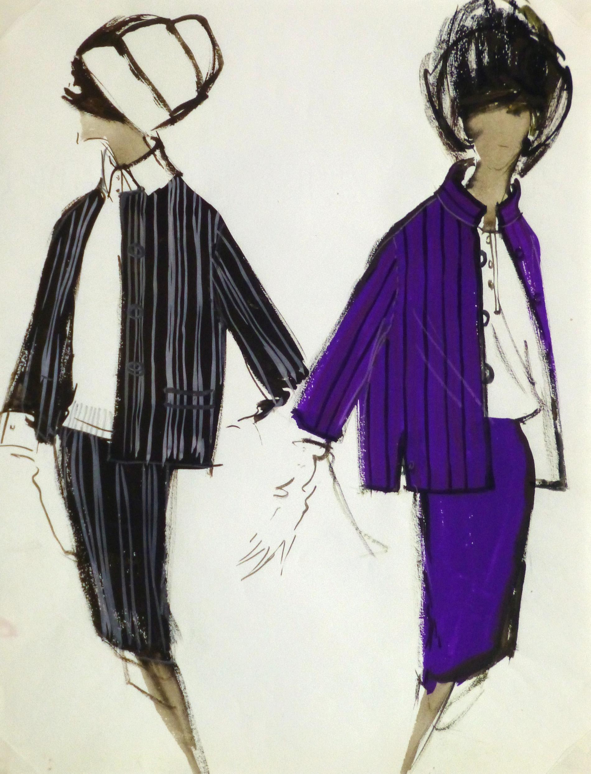 Gouache Fashion Sketch- Balmain Elegant Stripes-main-10193M