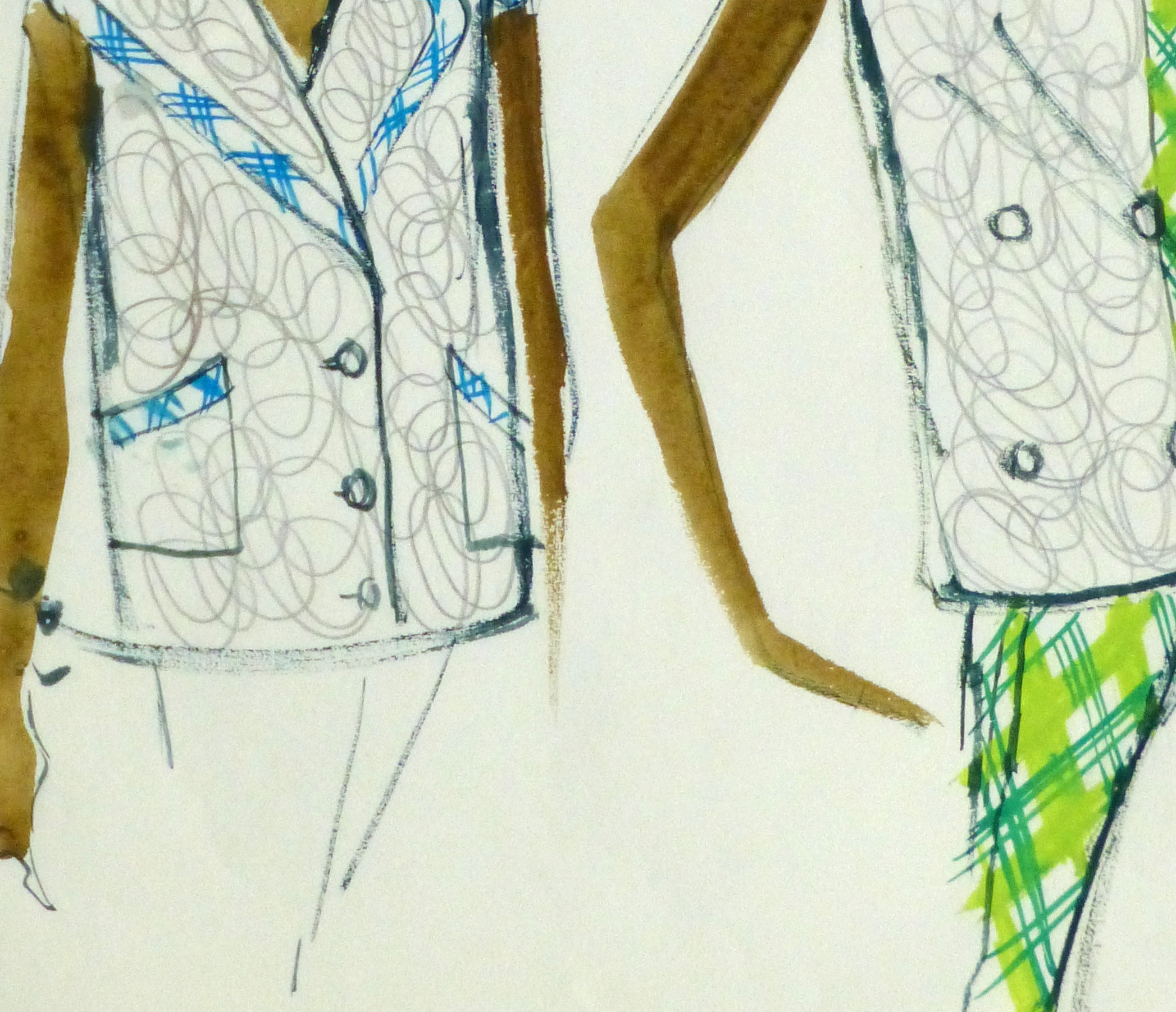 Watercolor Fashion Sketch- Balmain Plaid Trim-detail 2-10194M