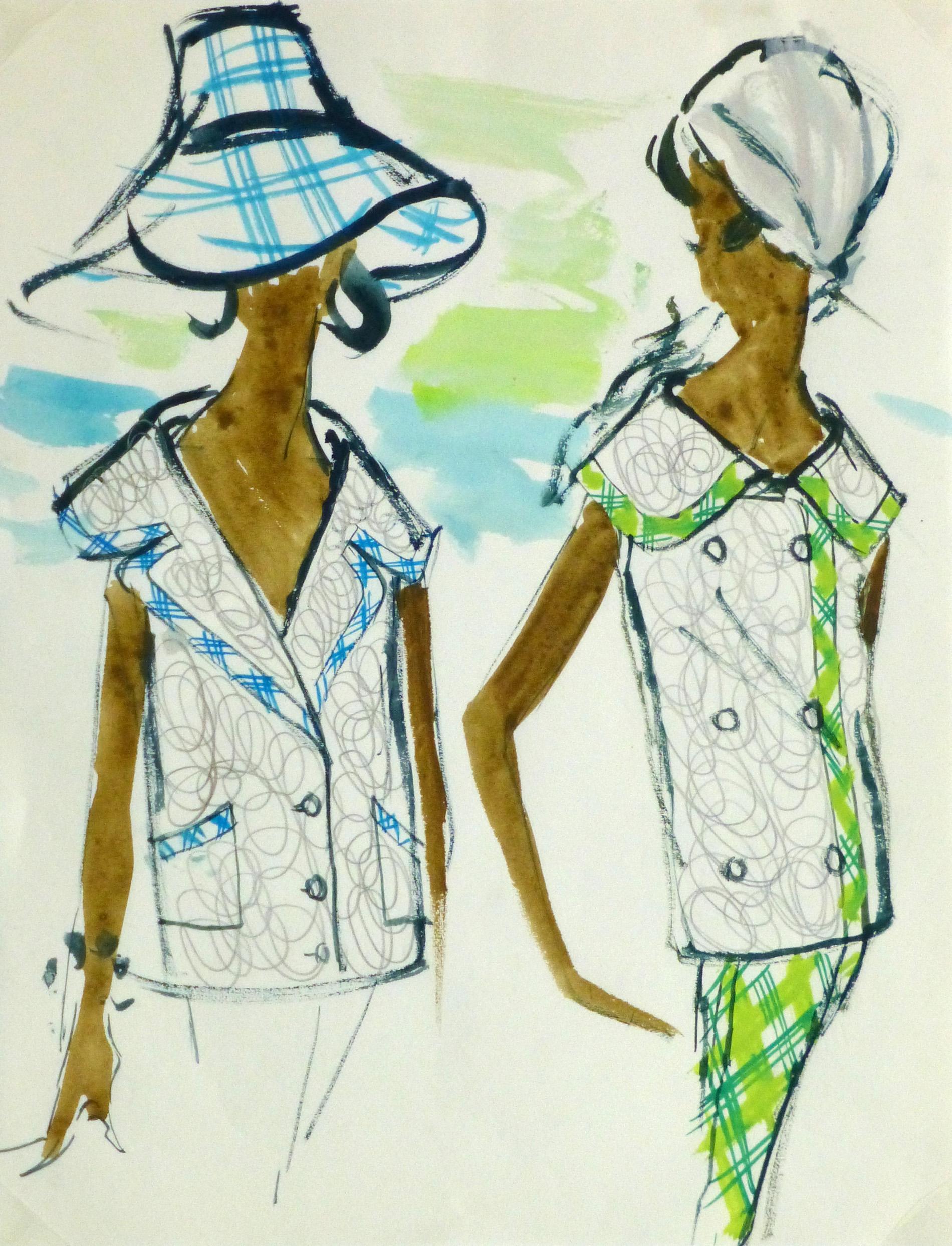 Watercolor Fashion Sketch- Balmain Plaid Trim-main-10194M