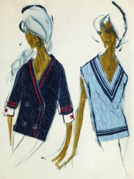 Gouache Fashion Sketch- Balmain Nautical Blouses-main-10195M
