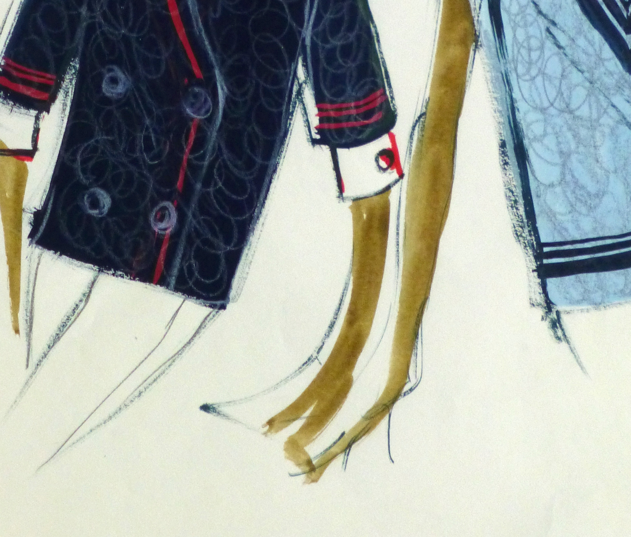 Gouache Fashion Sketch- Balmain Nautical Blouses-detail 2-10195M