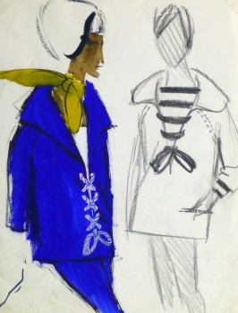 Gouache Fashion Sketch - Balmain Laced Coats -main-10196M