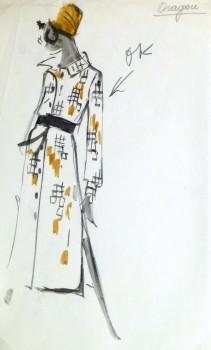 Watercolor Fashion Sketch - Balmain Geo Print Dress-main-10197M