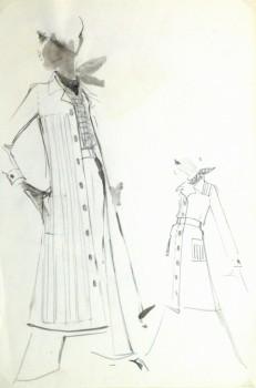 Watercolor & Pencil Fashion Sketch - Balmain Duster Coat-main-10199M