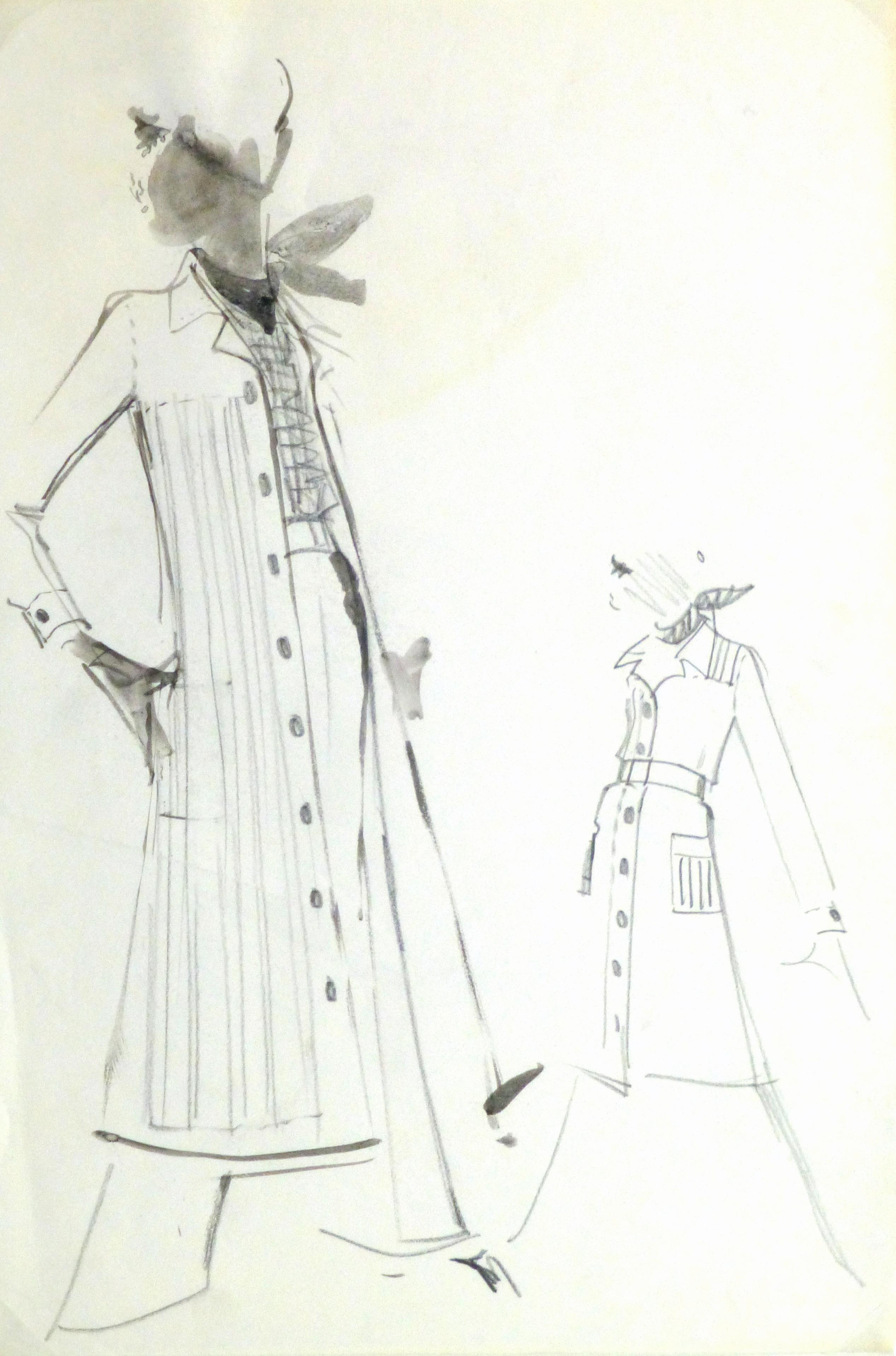 rtwatercolor amp pencil fashion sketch balmain duster