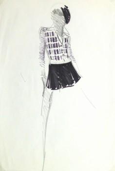 Ink & Pencil Fashion Sketch - Balmain Mini Skirt-main-10200M