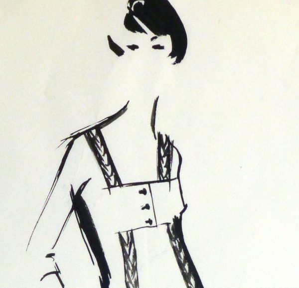 Gouache Fashion Sketch - Balmain Empire Waist Dress-detail-10201M