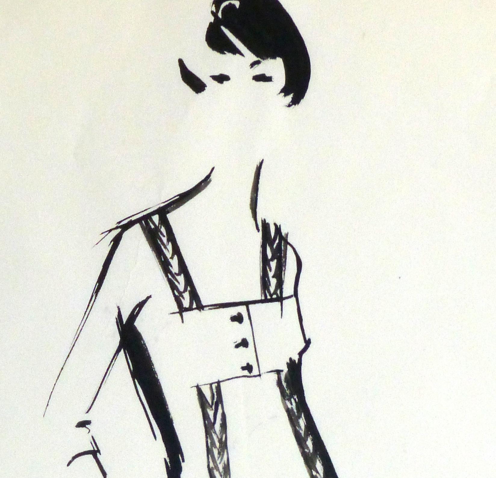 Gouache Fashion Sketch - Balmain Empire Waist Dress-detail-10201M