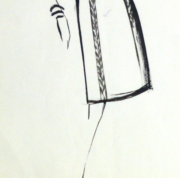 Gouache Fashion Sketch - Balmain Empire Waist Dress-detail 2-10201M