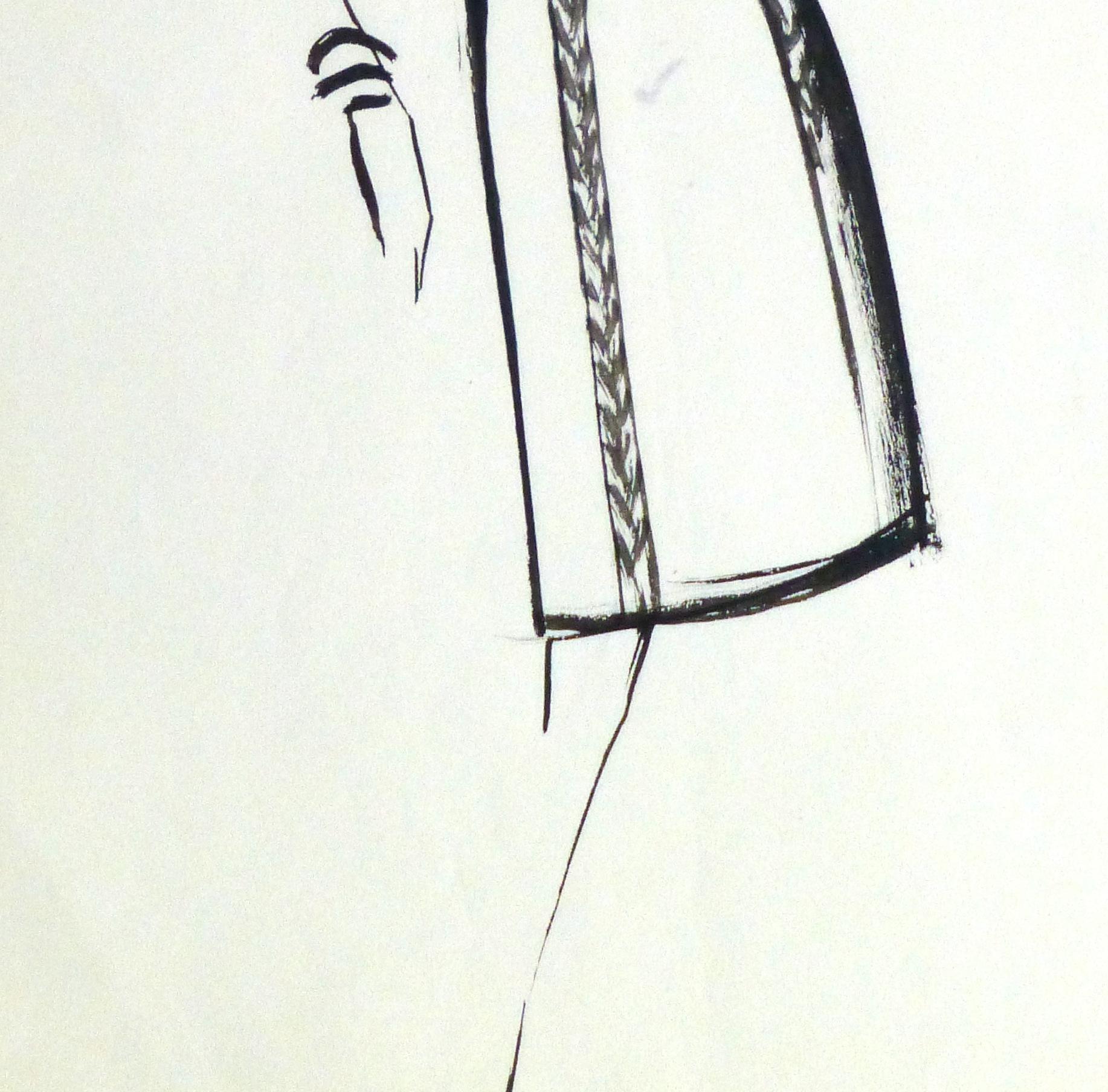 Gouache Fashion Sketch - Balmain Empire Waist Dress-detail 2-10201M