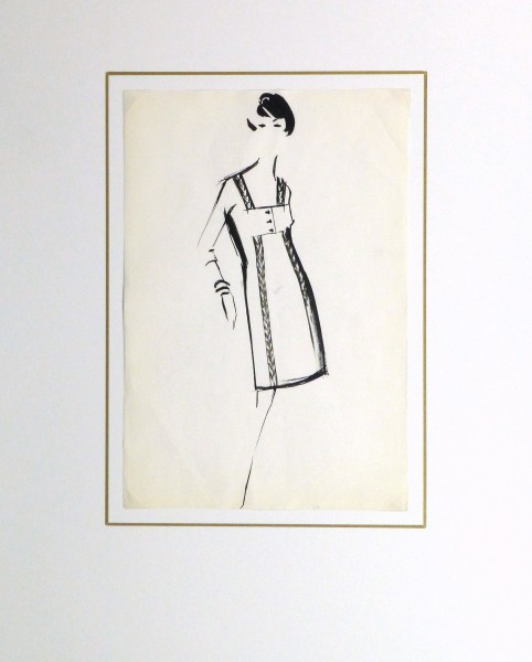 Gouache Fashion Sketch - Balmain Empire Waist Dress-matted-10201M