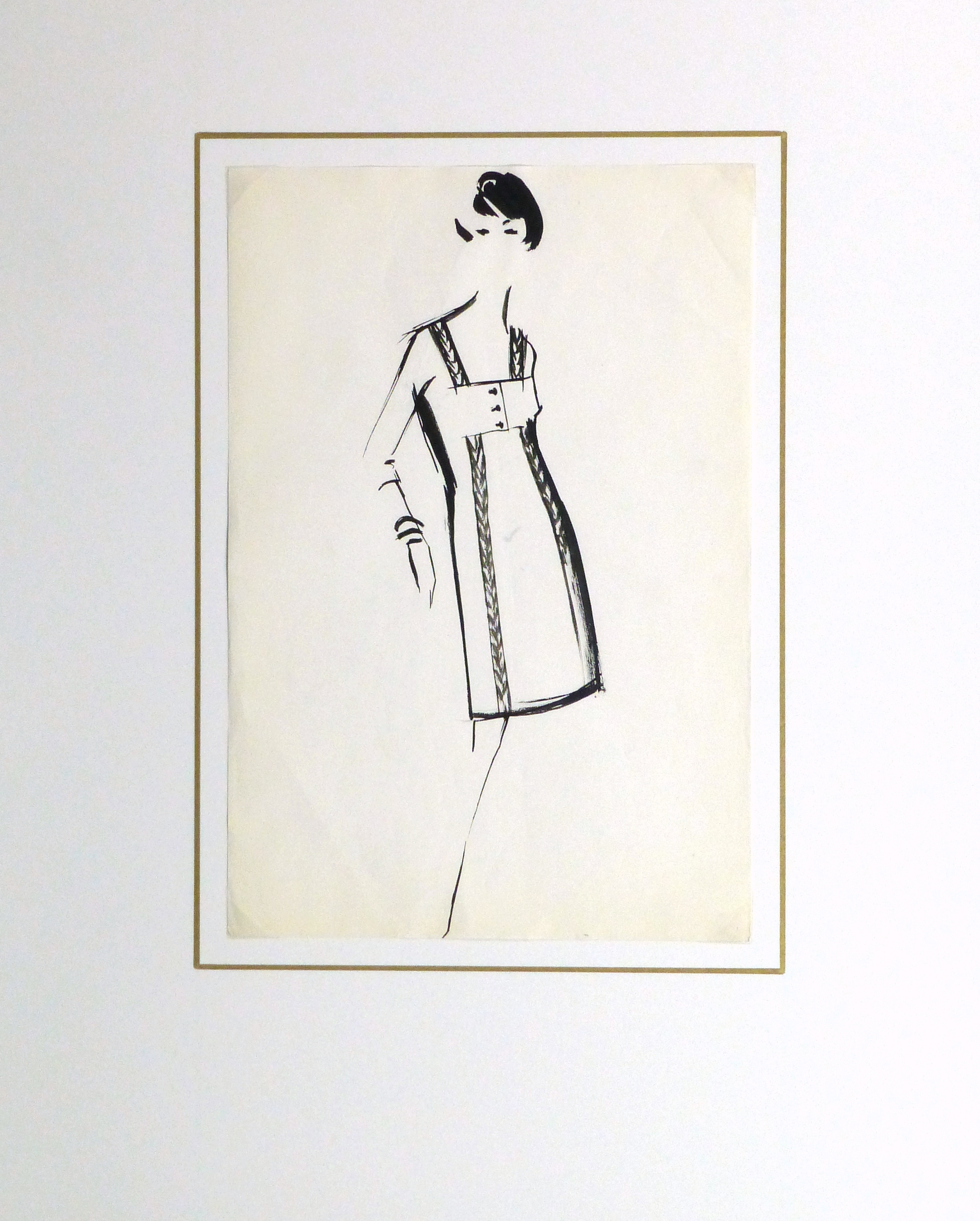 Gouache Fashion Sketch - Balmain Empire Waist Dress-matted-10201M