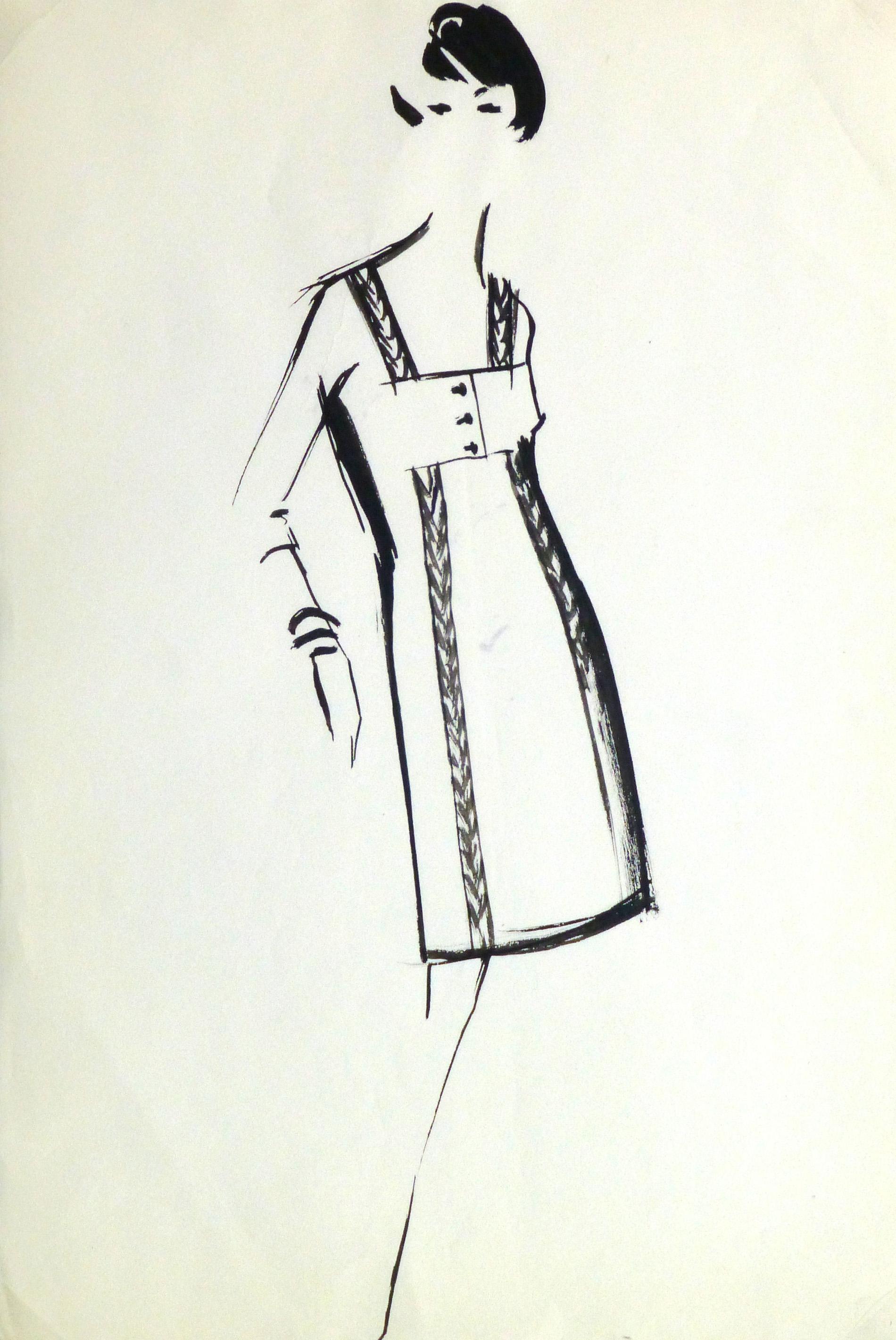 Gouache Fashion Sketch - Balmain Empire Waist Dress-main-10201M