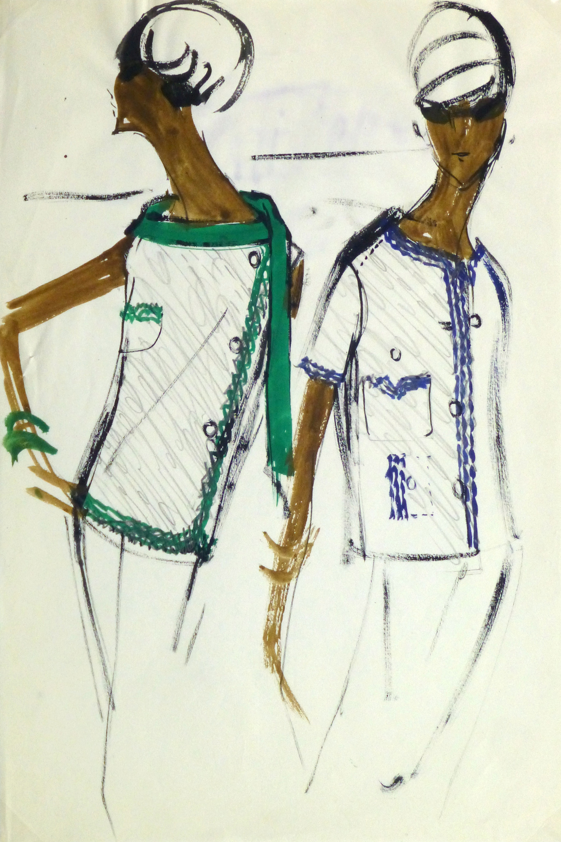 Gouache Fashion Sketch - Balmain Trimmed Blouses-main-10202M