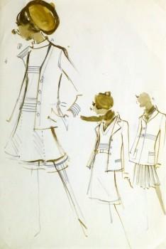 Watercolor & Pencil Fashion Sketch - Balmain Skirts & Coats-main-10203M
