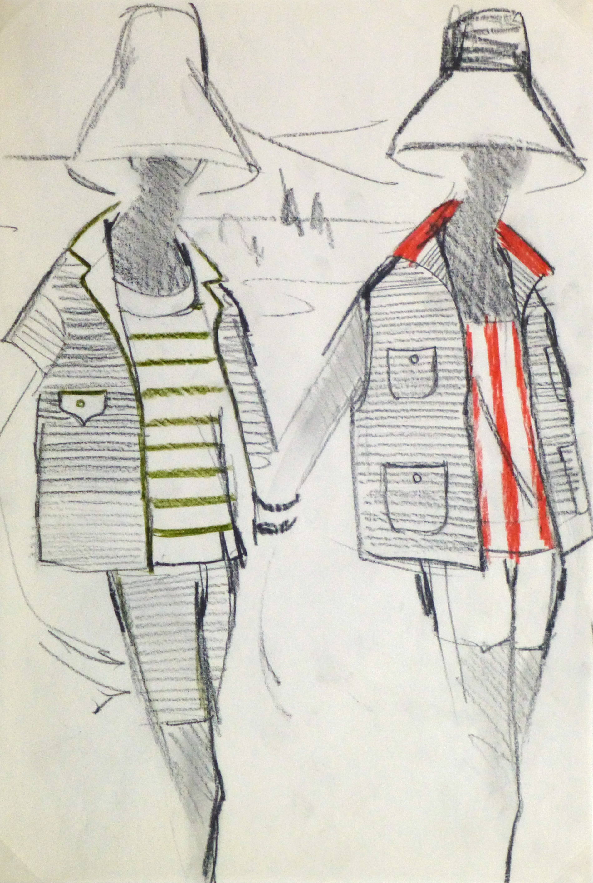 Charcoal Fashion Sketch - Balmain Summer Stripes-main-10204M