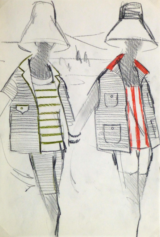 Charcoal Fashion Sketch - Balmain Summer Stripes-main-10204M