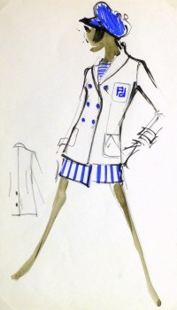 Watercolor & Ink Fashion Sketch - Balmain Nautical Blazer-main-10205M