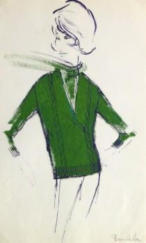 Gouache Fashion Sketch - Balmain Green Sweater-main-10206M