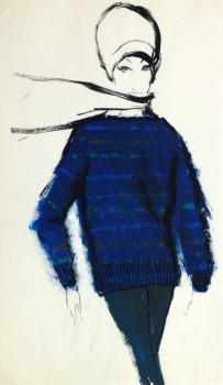 Gouache Fashion Sketch - Balmain Blue Sweater-main-10207M