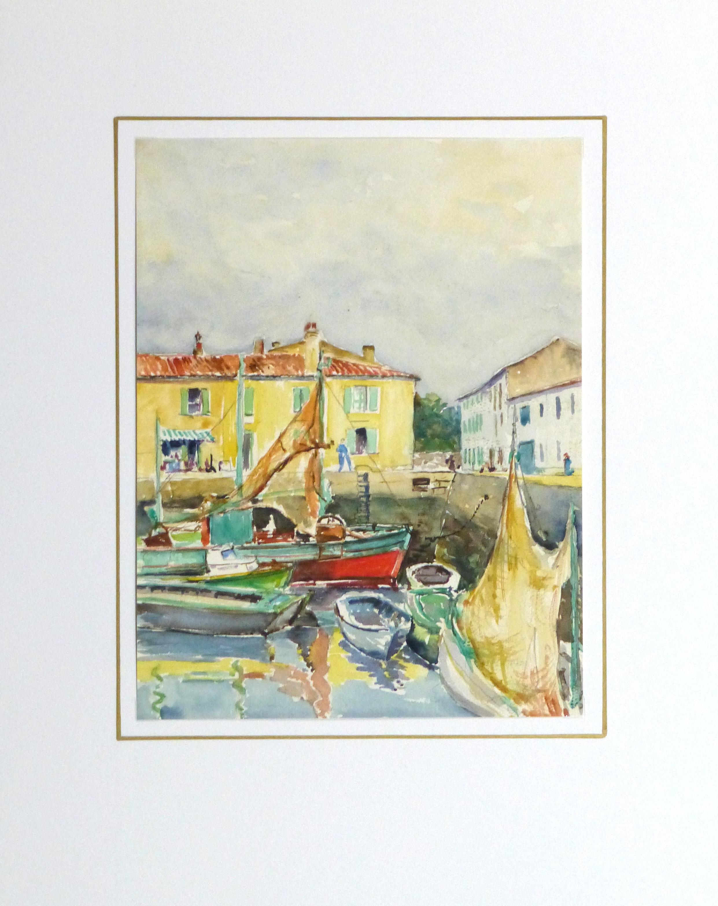Watercolor Seascape - Bright Harbor-matted-10243M