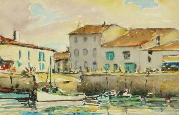 Watercolor Seascape - La Rochelle Harbor-main-10244M