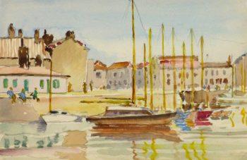 Watercolor Seascape - La Rochelle Port-main-10245M