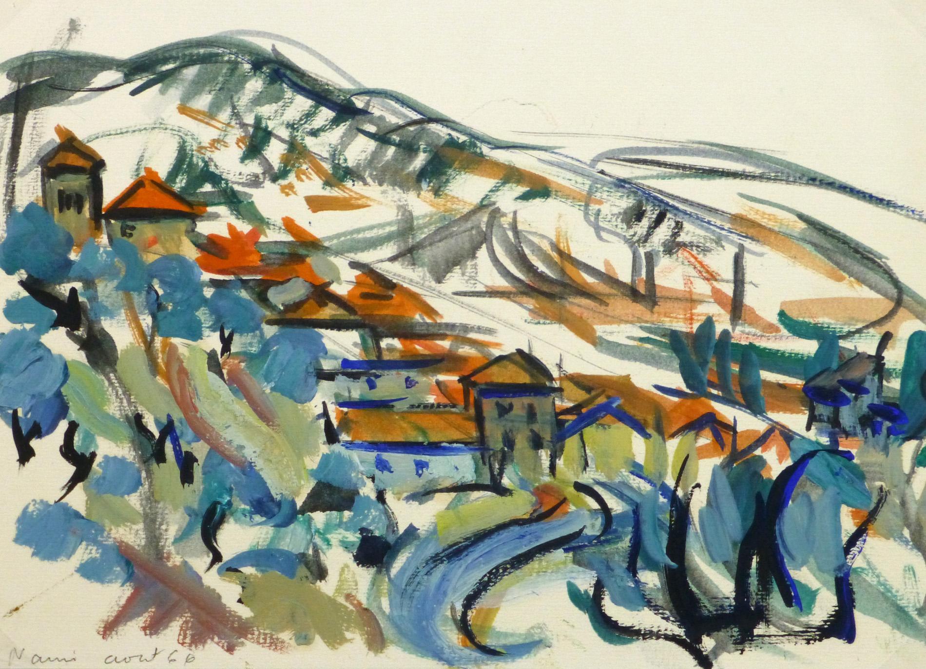 Gouache Landscape - Narni, Italy Hillside-main-10250M