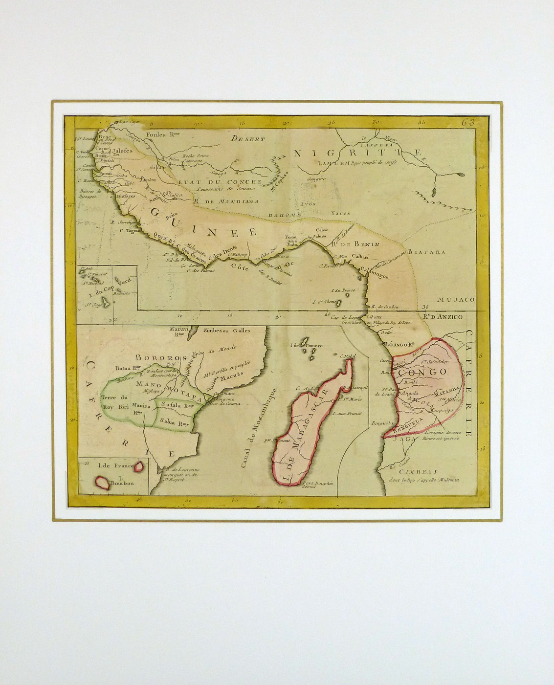 Antique map of africa by clouet 1767 map africa 1767 matted 8121k ccuart Choice Image