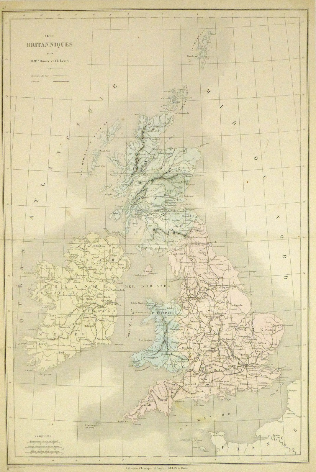 Map of British Isles, 1860 - Engraving-main-8147K