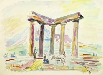 Watercolor Landscape - Temple of Apollo-main-9167K