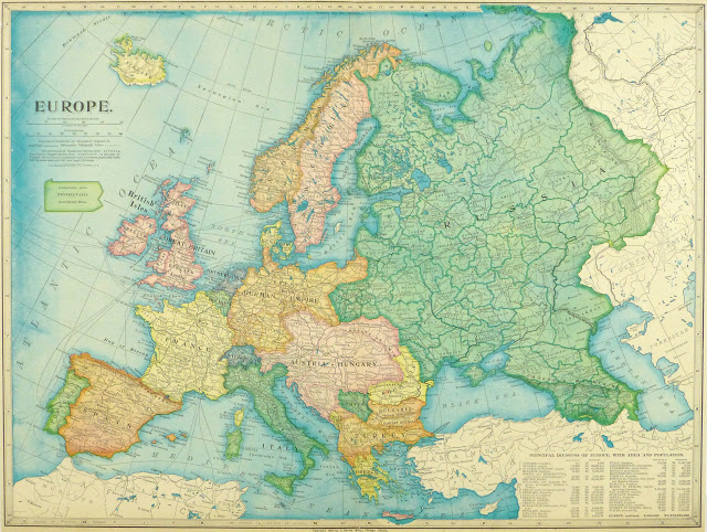 Europe Map, 1899 - Lithograph-main-9432K