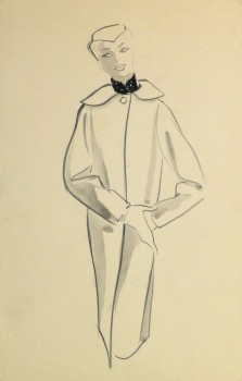 Pencil Fashion Sketch - Hendlin Long Swing Coat, 1957-main-10353M