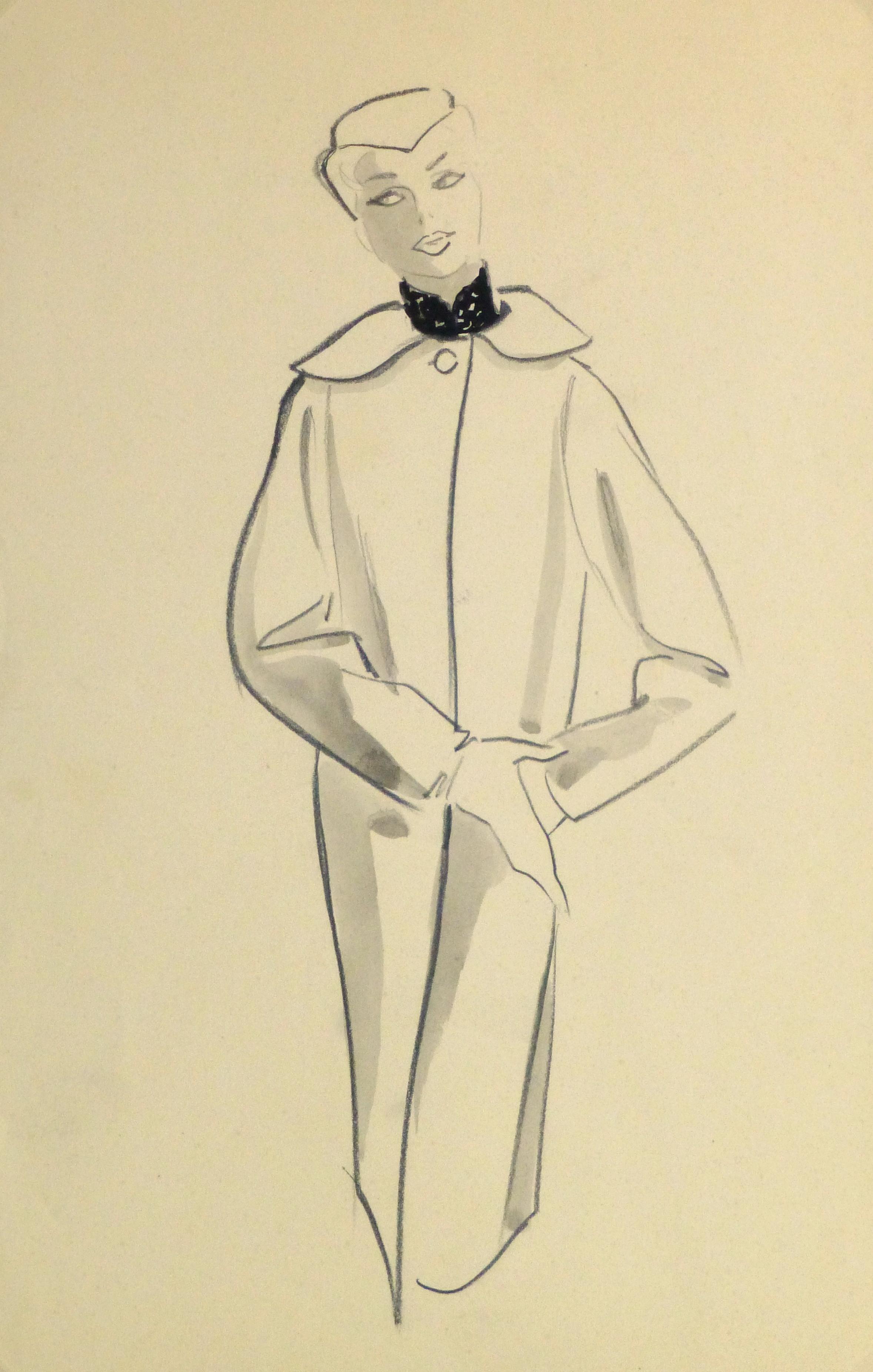 Pencil Fashion Sketch - Hendlin Long Swing Coat, 1957-main-10353M