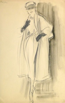 Pencil Fashion Sketch - Hendlin Coat & Gloves, 1957-main-10354M