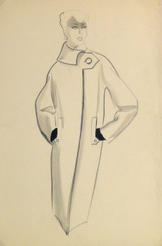 Pencil Fashion Sketch - Hendlin Button Coat, 1957-main-10355M