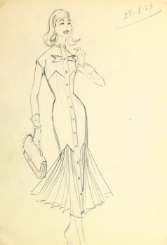 Pencil Fashion Sketch - Hendlin Mermaid Dress, 1957-main-10357M