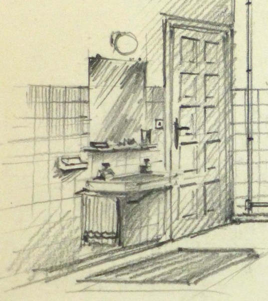 Pencil Drawing - Bathroom Interior, circa 1950-detail 2-10358M