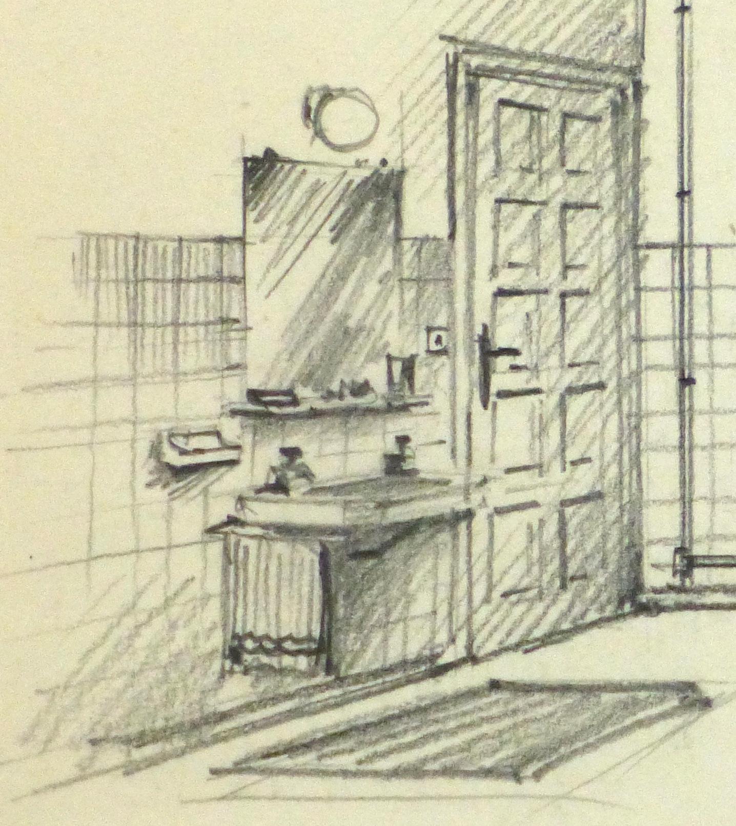 Pencil Drawing - Bathroom Interior, circa 1950-detail 2-10358M