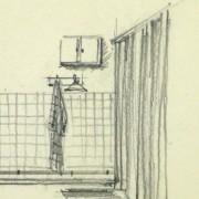 Pencil Drawing - Bathroom Interior, circa 1950-detail-10358M
