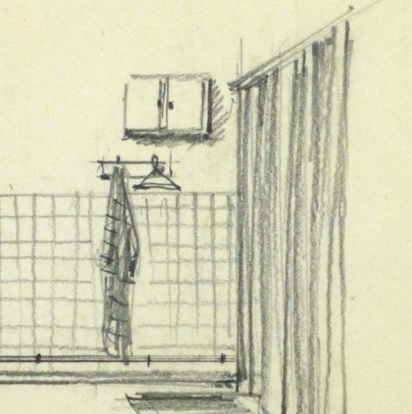 Pencil Drawing - Bathroom Interior, circa 1950-detail-10358M