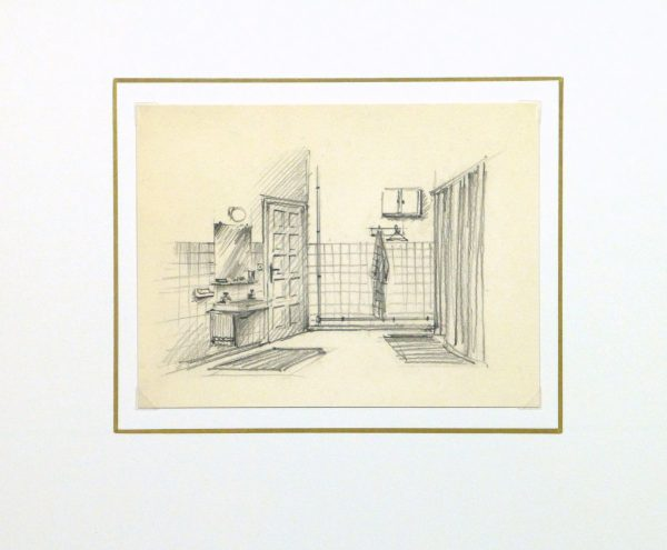 Pencil Drawing - Bathroom Interior, circa 1950-matted-10358M